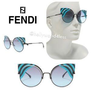 NEW Fendi Cat Eye Retro Wave Cyan Sunglasses 53mm